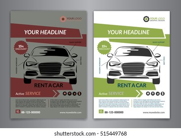 Set A5, A4 rent a car business flyer template. Auto service Brochure templates, automobile magazine cover, abstract arrow Modern Backgrounds. Vector illustration.