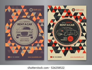 Set A5, A4 rent a car business flyer template. Auto service Brochure templates, automobile magazine cover, abstract geometry pattern triangle backgrounds. Vector illustration.