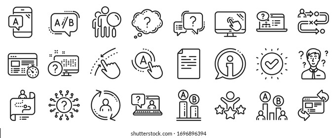 Set of AB testing, Journey path map and Question mark icons. UX line icons. Usability quiz test, Ux Ui and User flow. Project process, ab testing graph, survey test results. Quiz question. Vector