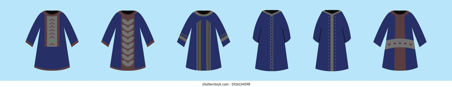 set of abaya cartoon icon design template with various models. modern vector illustration isolated on blue background