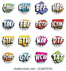 set of abbreviations in retro comic speech bubble with halftone dotted shadow