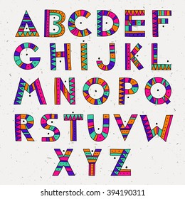 set of ABC letters. colorful hand drawn graphic font. ethnic tribal vector alphabet.