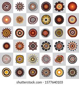 Set of aboriginal art dots painting icon logo design template