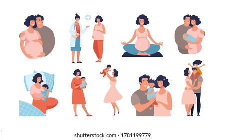 Set about pregnancy and motherhood. Dad and mom with a baby, the child is growing, yoga for pregnant women, a happy family. Flat vector cartoon illustration isolated on white background.