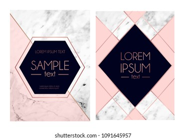 Set of absctract marble textured backgrounds, pink, navy blue colors and rose gold geometric lines. Modern design template for invitation, wedding, greeting card, motivational poster etc.