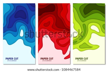 Set Of Abstract 3D Backgrounds Paper Cut Shapes Template For Your Design Works