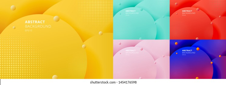 Set of abstract 3D liquid fluid circles yellow mustard, green mint, red, blue color beautiful background with halftone texture. Vector illustration
