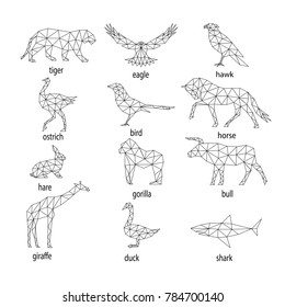 set of abstract animal silhouettes from polygons.