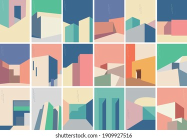 Set of Abstract architecture background with geometric art pattern. Modern building banner design vector. - Shutterstock ID 1909927516