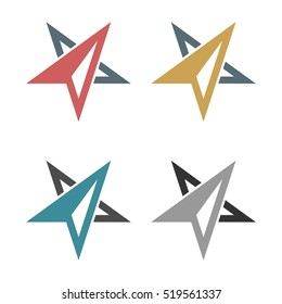 set Abstract Arrow Star Compass Rose Logo template Illustration Design. Vector EPS 10.
