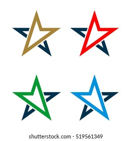 set Abstract Arrow Star Compass Rose Logo template Illustration Design. Vector EPS 10.
