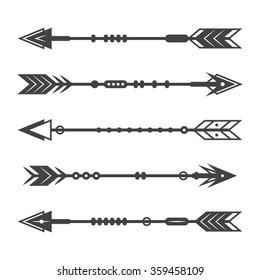 Set of abstract arrows on a white background