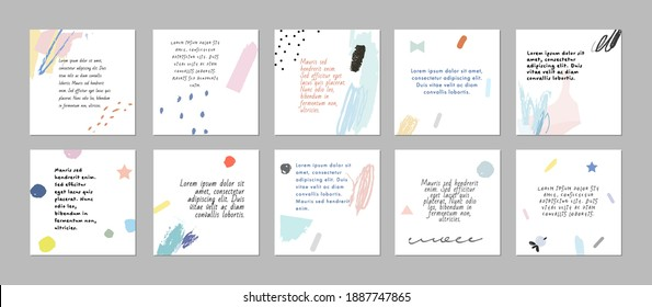 Set of abstract art templates. Suitable for social media posts, mobile apps, banners design. Vector backgrounds