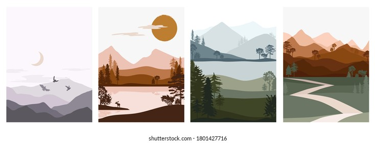 Set of abstract autumn landscape. Forest animals, hills of coniferous wood with mountains range, lake, river silhouette template. Editable vector illustration.