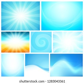 Set of Abstract Background blue color. Shiny vector illustrations with modern style different style for cards, flayers and wallpapers.