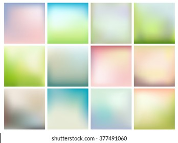 Set of abstract background with soft spring colors