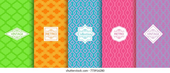 Set of abstract backgrounds in bright retro colours with seamless moroccan patterns. Seamless abstract pattern in arabic style. Template greeting card, invitation and advertising banner, brochure