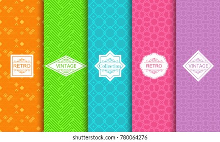 Set of abstract backgrounds in bright retro colours with seamless textured patterns. Seamless abstract geometric pattern. Template greeting card, invitation and advertising banner, brochure