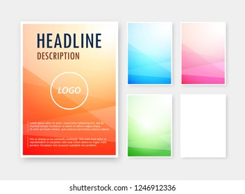 Set of abstract backgrounds different colors on blank A6 format for brochure, catalog. Vector illustration with line shapes and flyer design layout on gradient