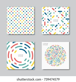 Set of abstract backgrounds. Flat circles dots vector pattern. Card, cover tag, poster, flyer banner design.