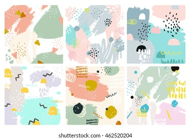 Set of Abstract backgrounds with hand drawn textures, memphis style. Universal cards, pastel colors. Retro design, fashion art
