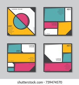 Set of abstract backgrounds in neoplasticism style. Flat circles, square, dots vector pattern. Card, cover, tag, poster, flyer banner design.