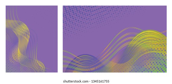Set of abstract  backgrounds with trendy colorful design for brochures, posters, presentations and banners.  Modern design with flowing overlapping shapes made of curvy lines and dots. Jpg and Vector.