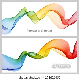 Set of abstract banners colored waves