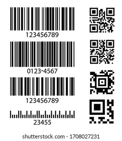 Set of abstract barcode bar code templates for scanner digital codes for social networking, market, payments and design