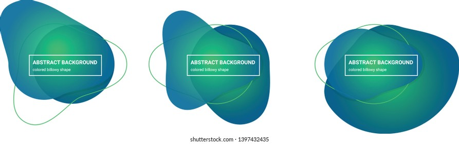 Set of abstract billowy shapes background teplates in Emerald, Bahama-Blue colors for banners, flyers, websites, brochures etc.