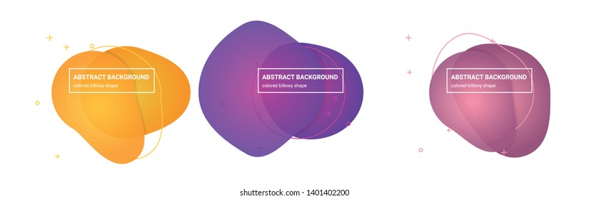 Set of Abstract billowy shapes Background Templates in Pink-Salmon, Tapestry, Medium-Red-Violet, Royal-Purple, Tree-Poppy, Sunglow Gradients Colors for Logo, Flyer, Website etc.