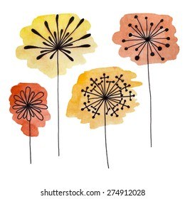 Set of abstract black hand drawn flowers on watercolor blots in doodle style. Vector Illustration EPS10.
