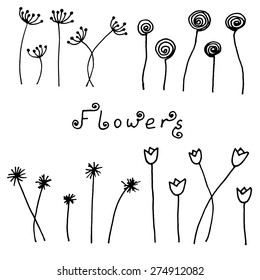 Set of abstract black hand drawn flowers in doodle style. Vector Illustration EPS10.
