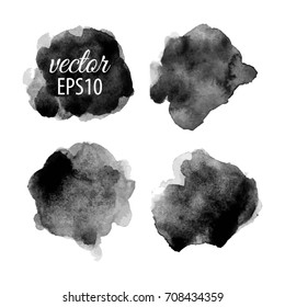 Set of abstract black ink blots