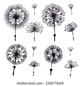 Set of abstract black silhouette dandelion element isolated on white background