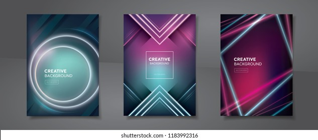 Set of abstract blend colorful backgrounds with modern vivid laser beams for posters brochures or book covers