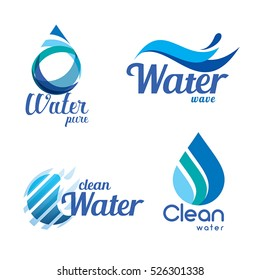 Set of abstract blue symbols, water drops and wave logo template.