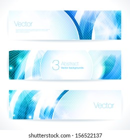Set of abstract blue vector banners.