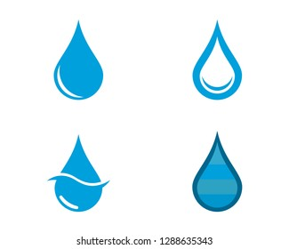 Set of abstract blue water drops symbols, logo template