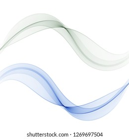 Set of abstract blue waves. Smoky waves on a white background, design element.