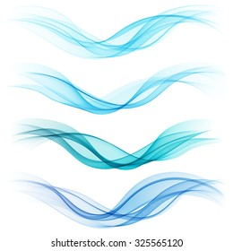 Set of abstract blue waves. Vector illustration EPS 10