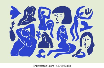 Set of abstract blue women illustration collection. Big bundle of flat cartoon woman figures, young vintage matisse art female body studies. Beautiful fine artwork for fashion or modern trend project.