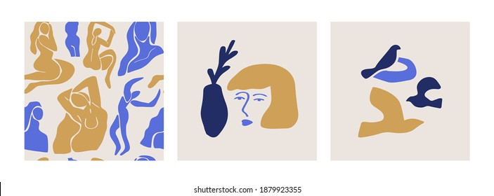 Set of abstract blue women seamless pattern with fine artwork compositions. Illustrations of flat cartoon woman and birds, vintage matisse art bundle for fashion or modern trend project.