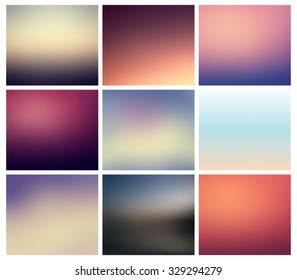 Set of abstract blurred / unfocused backgrounds, collection. Vector eps 10