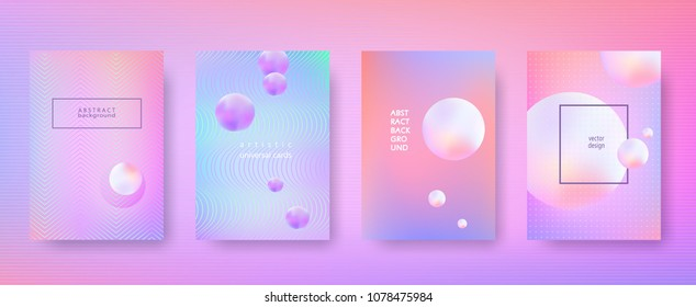 Set of abstract blurry backgrounds 3d dynamic shapes Bright rainbow pattern for creative design Minimal geometric background for posters banners flyers presentation covers etc Size A4 Vector Eps10