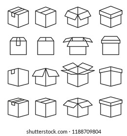 Set of Abstract Box Vector Line Icons. Editable Stroke