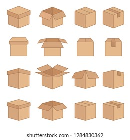 Set of Abstract Box Vector Line Icons