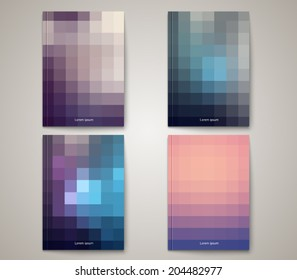 Set of abstract brochure templates with square background design. Clean and modern style collection