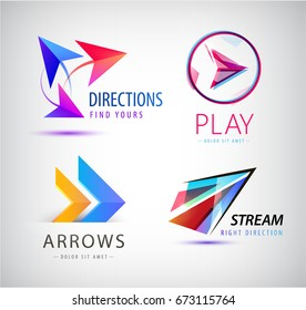 Set of Abstract business logo icon design template arrows, origami dynamic signs. Vector color symbols