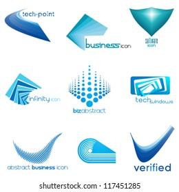set of abstract business & technology icons, logo set